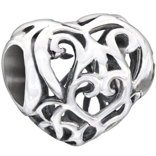 (Authentic Chamilia Sterling Silver Charm Heart Filigree 2010-3136)