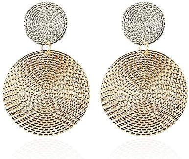 Les femmes /él/égantes boucles doreilles rondes /Âpre g/éom/étriques en m/étal brillant en alliage de zinc Earstud oreille Bijoux cadeau 3 Couleurs