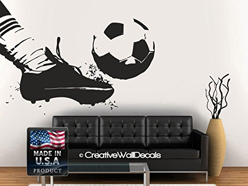 (Wall Decal Vinyl Sticker Decals Art Decor Design Football Player Team Ball Boots Kicking Soccer Sport Kids Children Beedroom)