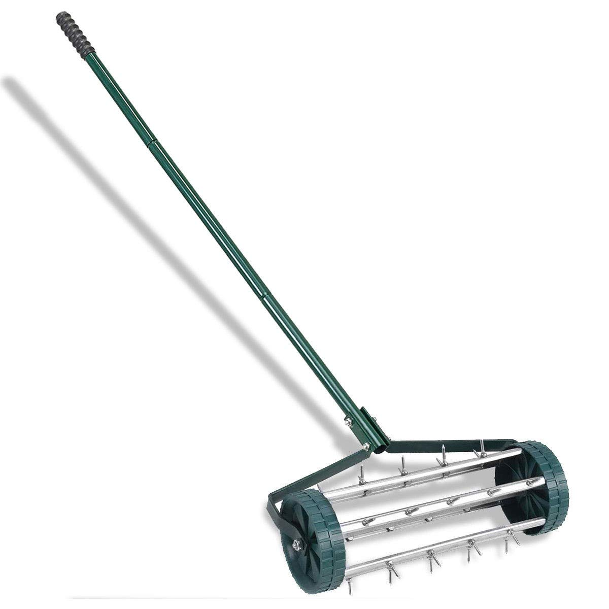 LHONE Lawn Aerator Heavy Duty Easy Rolling Garden Lawn Aerator Roller Home Grass Steel Handle Green by LHONE