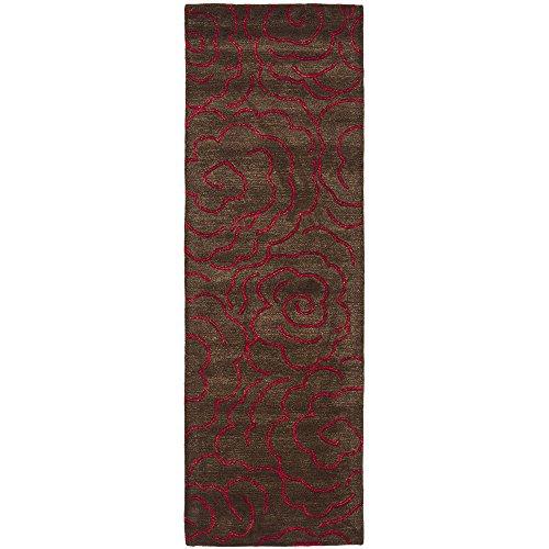 Safavieh Soho Collection SOH812D Handmade Chocolate and Red Premium Wool Runner (2'6