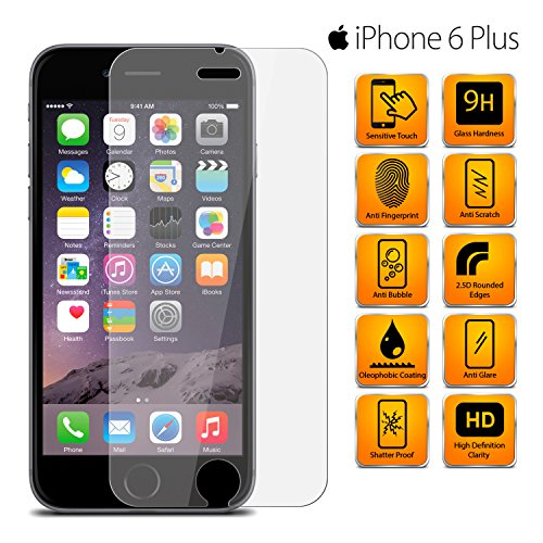 MobiBax Apple iPhone 6 Plus Tempered Glass Screen Protector Guard Anti Scratch Glass Hd Shatter Proof 9H Hardness Bubble 0.3Mm Apple iPhone 6 Plus