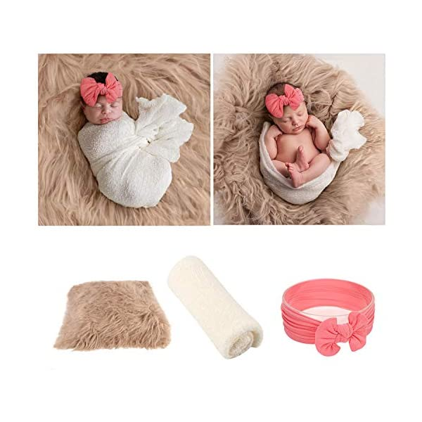 JASEN 3Pcs Infant Newborn Photography Props, DIY Faux Fur Nursery Swaddling Blankets & Toddler Wraps with Headband Set (Khaki- Cocoa Powder)