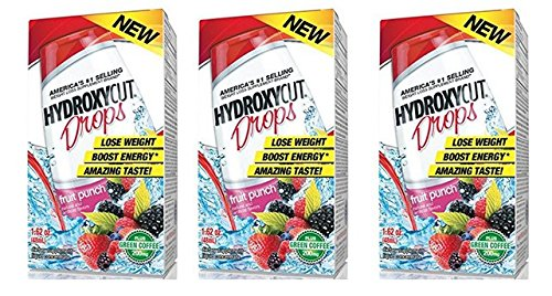 Hydroxycut Drops Plus Green Coffee 200mg Fruit Punch, For Weight Loss – 1.62 Oz (Pack of 3)