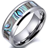 8mm Comfort Fit High Polish Tungsten Carbide Ring Men's Aniversary/engagement/wedding Band with Abalone Inlay (Size 7 to 13 Selectable) Picture