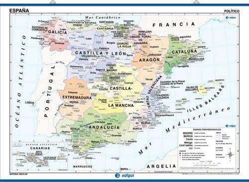 mapa mural españa, físico / político: Mapas Murales Mapa Mural Edigol: Amazon.es: Edigol Ediciones: Libros