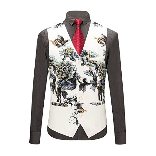 d6b9bc91194b0 MOGU Mens 3 Piece Floral Printed Suits Slim Fit Stylish Prom Tuxedos lovely