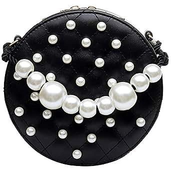 TOOGOO Circular Pearl Women Bag PU Handbags Summer Fashion Shoulder Bag Crossbody Bags For Women Messenger Black
