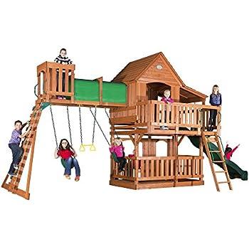 Amazoncom Backyard Discovery Woodridge II All Cedar Wood Playset - Wood backyard playsets