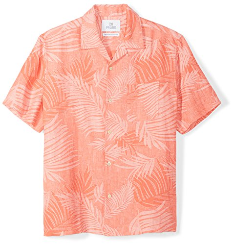 28 Palms Men's Relaxed-Fit Silk/Linen Tropical Leaves Jacquard Shirt, Coral, - Leaf Spring Fitted
