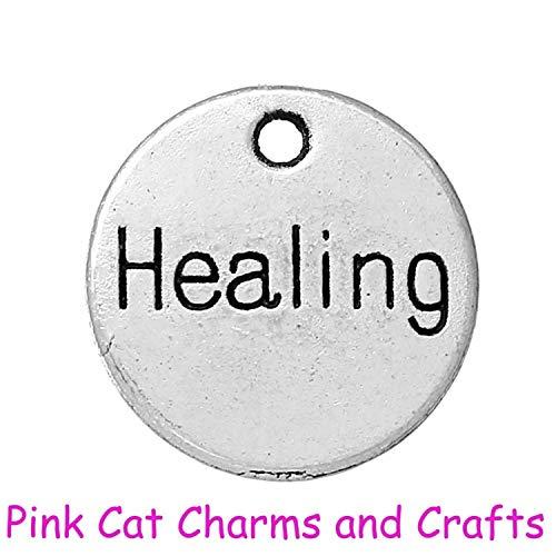 (10 x Tibetan Silver Healing Spiritual Religious Plaque DISC 11mm Charms Pendant)