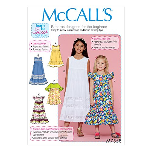 McCall's Patterns M7558CHJ Children's/Girls' Sleeveless and Ruffle Sleeve Empire-Waist Dresses (Sewing Girls Dresses Patterns)