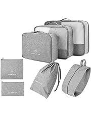 Organizer per valigie 7 set, organizer per bagagli con borsa per scarpe e borsa da toilette