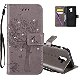 HMTECHUS Samsung J8 2019 Wallet Case 3D Crystal Embossed Love Tree Cat Butterfly Handmade Diamonds Bling PU Flip Stand Card Holders Wallet Cover for Samsung Galaxy J8 2019 Wishing Tree Gray KT