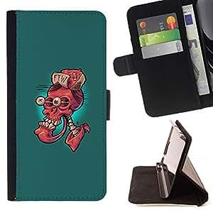 Momo Phone Case / Flip Funda de Cuero Case Cover - Ftw Cráneo Rojo - Gracioso - Huawei Ascend P8 Lite (Not for Normal P8)