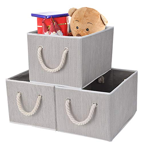 StorageWorks Closet Bins for Shelves, Closet Baskets with Cotton Rope Handles, Mixing of Gray, Brown & Beige, 3-Pack, Jumbo