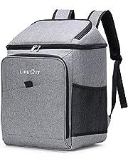 Lifewit Plecak chłodzący, 26 l, termoizolacyjny plecak, torba termoizolacyjna, miękka torba podwójna, na piknik, grilla, kemping, wycieczki, zakupy, szary