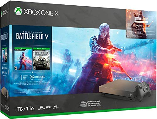 Microsoft Xbox One X 1TB/2TB Gold Rush Special Edition Battlefield V Bonus Bundle: Gold Rush Special Edition Battlefield V, Xbox Wireless Controller, Xbox One X 4K HDR Console – Black
