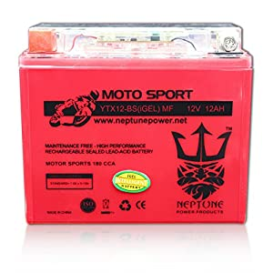 YTX12-BS 12V 12Ah High Performance GEL Motorcycle Battery by Neptune