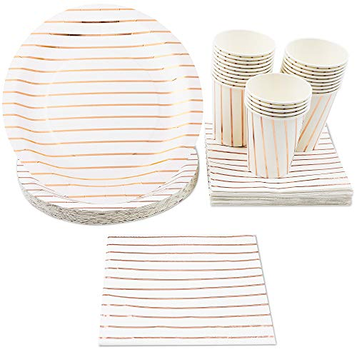 Disposable Dinnerware Set - Serves 24 - Elegant Party Supplies, Rose Gold Foil Stripes Design, Includes Paper Plates, Napkins, Cups, Birthday, Bridal Shower Party Pack