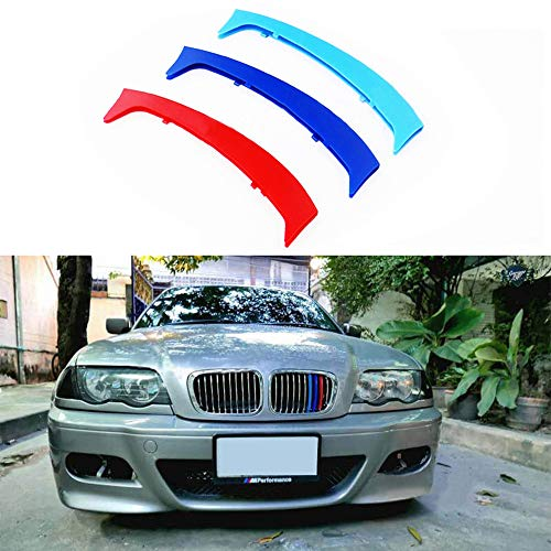 for 98-01 BMW 3 Series E46 Sedan and Touring 3D M Styling 3 Colors Front Grille Trim Motorsport Stripes Grill Cover Performance Stickers 3Pcs ()