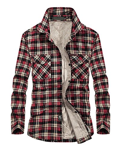 Lined Red Jacket - Chartou Men's Thermal Button-Down Fleece Lined Flannel Plaid Twill Work Shirt Jacket (Red, Large)