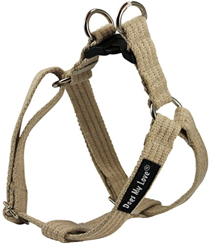 Cotton Web Adjustable Dog Step-in Harness 4 Sizes Beige (Medium: 12