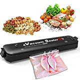 HAAMIIQII Vacuum Sealer Machine, 2 in 1 Mini Portable Home Food Savers Automatic Thermostatic Vacuum Air Sealing System for Food Preservation with 15 Sealing Bags, Led Indicator Lights