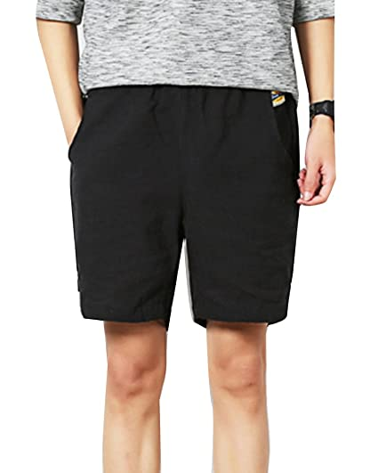 2edf1b8dc4 LaoZanA Pantalones Cortos De Playa Deportivos Hombre Cargo Bermudas  Pantalon Lino Pantalones Chinos Negro 5XL