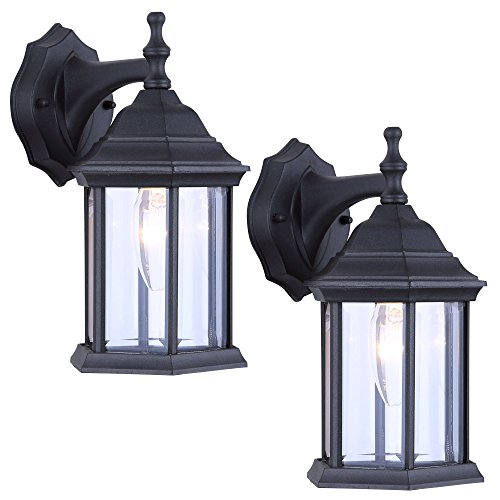 2 Pack of Exterior Wall Light Fixture Outdoor Sconce Lantern, Black ()