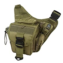 Aenmil® Brand New Unisex Men Women Multi-functional Outdoor Travel Small 600D Oxford Fabric MOLLE Tactical Shoulder Bag Single Shoulder Cross Body Messenger Bag Great for Indoor and Outdoor Use