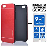 LIMITED STOCK SALE Iphone 6 Plus & 6S Plus [5.5] PREMIUM Pack Aluminum Case + Tempered Glass Screen Protector Brushed Alloy Impact Absorbent Shock Red INO Metal PVC Skin Cover Motomo