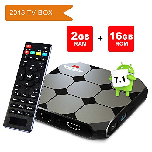 Android TV Box 7.1.2, Smart A95 R2 2GB Ram 16GB with Amlogic S905w Quad Core 2.4G WiFi 4K HD Support, IR Remote