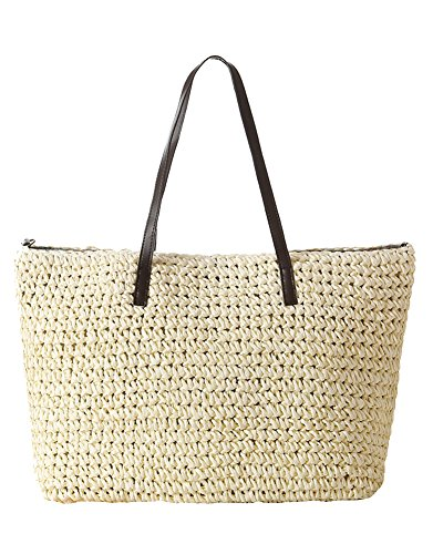 ILISHOP Hot Sale Women's Classic Straw Summer Beach Sea Shoulder Bag Handbag (White Classic Tote)