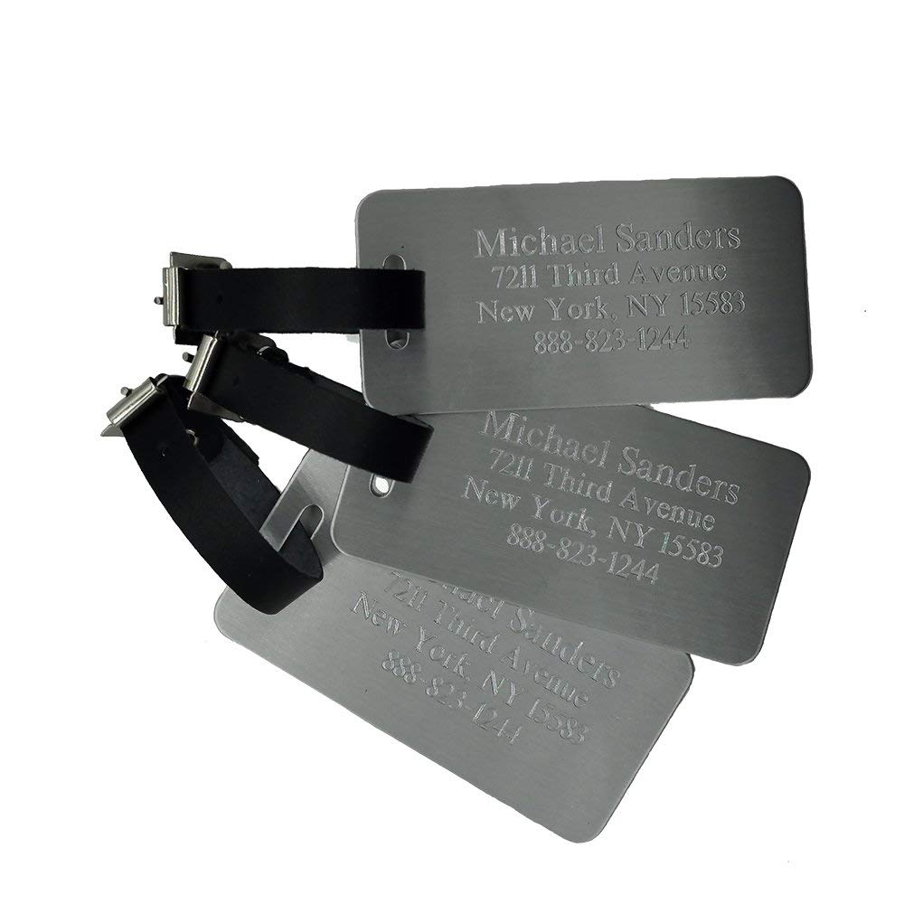 Custom Luggage Tag - Custom Engraved Aluminum Luggage Tag - Personalized Luggage Tag - Perfect Gift for Boss - Professional Gift for Coworker (Set of 3 Tags)