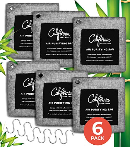 Activated Bamboo Charcoal Air Purifying Bag 6-Pack Bundle - 200g Charcoal Bags w/Hooks - Bamboo Charcoal Bags Odor Absorber - Odor Eliminators for Home - Car Air Freshener - Room & Car Freshener