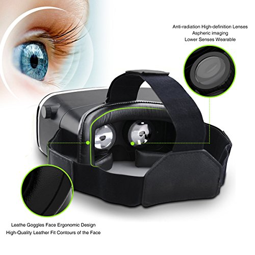 3D VR Headset, Yove 3D Virtual Reality Headset with Adjustable Lens and Strap for iPhone 7 6 6s 5 5s 6splus Samsung S3 Edge Note 4 and 3.5-5.5 inch Smartphone for 3D adult Movies and 3D Games by yove (Image #4)