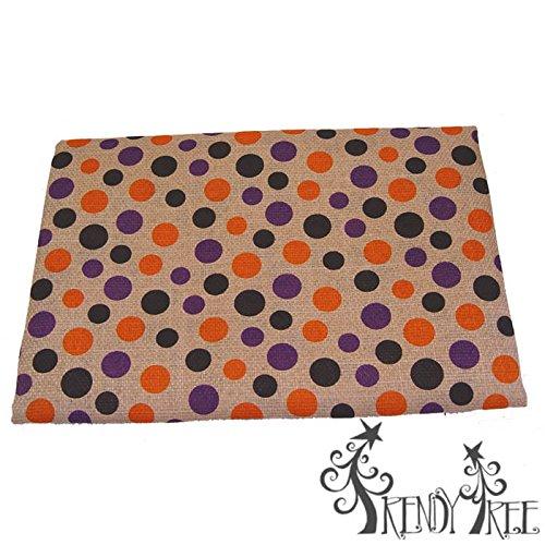 Halloween Table Cloth Black Purple Orange Polka Dot on Natural ()