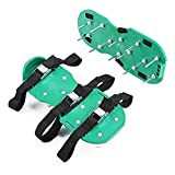"""SHCOME Lawn Aerator Sandals Heavy Duty Spiked Shoes with 2"""" Mental Spikes Free Size for Revive Lawn or Yard Aeration - 3 Adjustable Straps and Buckles"""