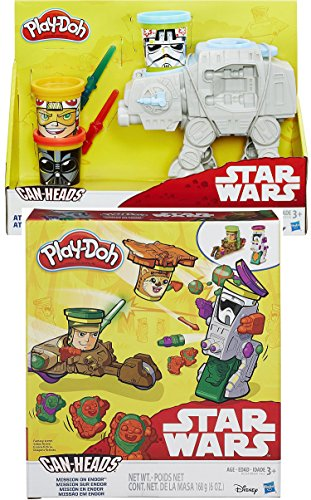 Disney Star Wars AT-AT Play-Doh Attack with Can-Heads & Forest Action Mission On Endor with Ewoks, AT-AT Walker vehicle & Speeder Bike 2-Play Set Bundle
