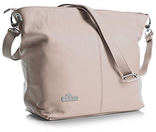 LIATALIA Women's Medium Hobo Shoulder Bag Genuine 100% Italian Leather Stylish & Elegant Design - ADAL [Baby - Pink Handbag Italian
