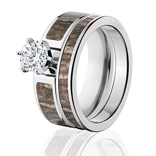 Mossy Oak Camo Bridal Set, Camo Wedding Rings, Bottomland Camo Rings