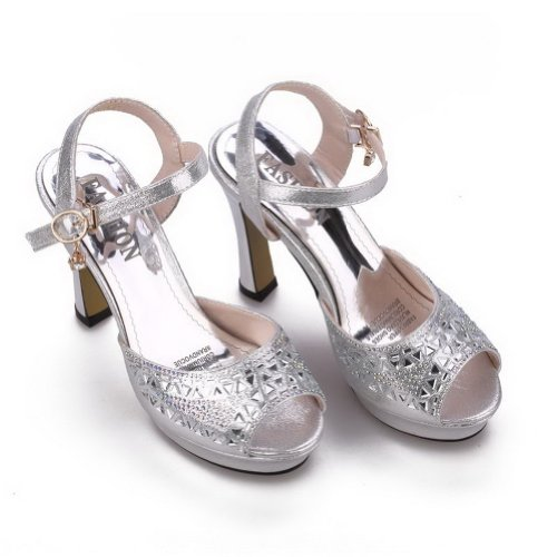 WeenFashion Fiber Platform Heel Womens M Open 4 5 US Peep Diamond Glass Solid Sandals High Toe B Micro Silver with rr1p8