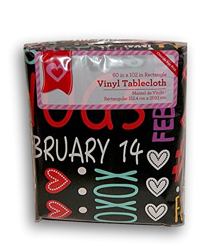 Black Valentines Text and Typography Rectangular Vinyl Tablecloth (60 x 102)