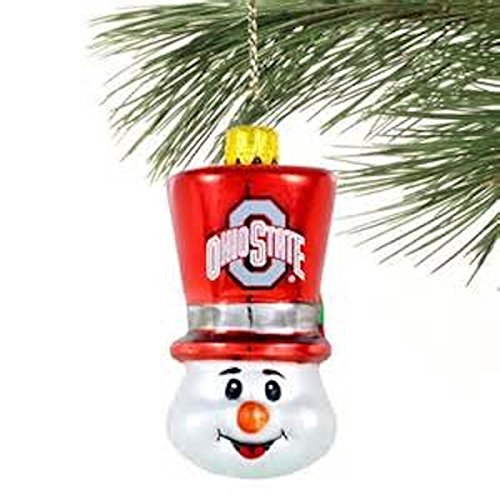 NCAA Licensed Ohio State Buckeyes Blown Glass Top Hat Snowman Ornament (Ohio State Snowman)
