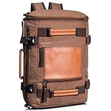 Leaper Men's Vintage Canvas Backpack Rucksack Handbag Travel Duffel Bag Coffee