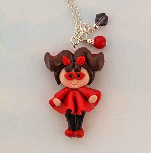 Polymer Clay Chunky Pendant Charm Necklace Cute Halloween Costume Devil (Cute Devils Costume)