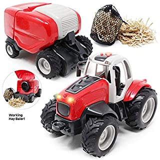 Boley Farm Tractor with Baler - Light and Sound Farm Toy Truck Tractor Set - Paper Hay and Collection Nets Included - Tractor Toys for Kids