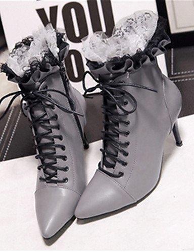 5 Cn36 us7 Xzz Eu38 Semicuero Gris Zapatos Puntiagudos Botas Uk5 5 us6 Gray Tacón Casual Gray Uk4 De Stiletto Cn38 Eu36 Mujer Negro B6OrB87nq