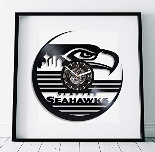 Kovides Seattle Seahawks Wall Art Sport Gift Lp Retro Vinyl Record Wall Clock Modern American Football Clock Handmade Art Seattle Seahawks Clock Birthday Gift Idea For Boy Sport Art Wall Clock Vintage